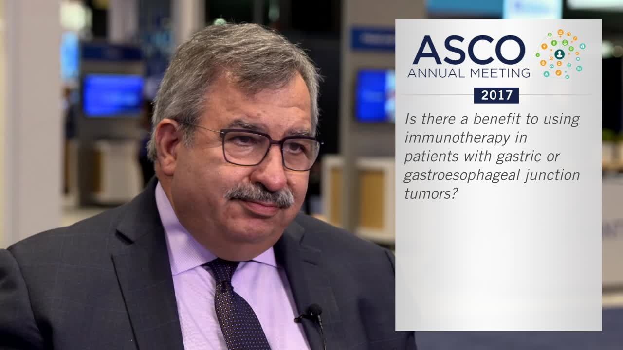 Is there a benefit to using immunotherapy in patients with gastric or gastroesophageal junction tumors?