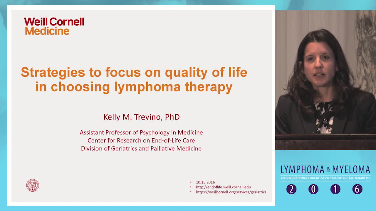 Strategies to focus on quality of life in choosing lymphoma therapy