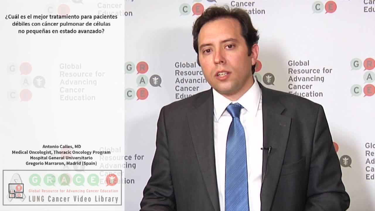 ¿Cuál es el mejor tratamiento para pacientes débiles con cáncer pulmonar de células no pequeñas en estado avanzado?