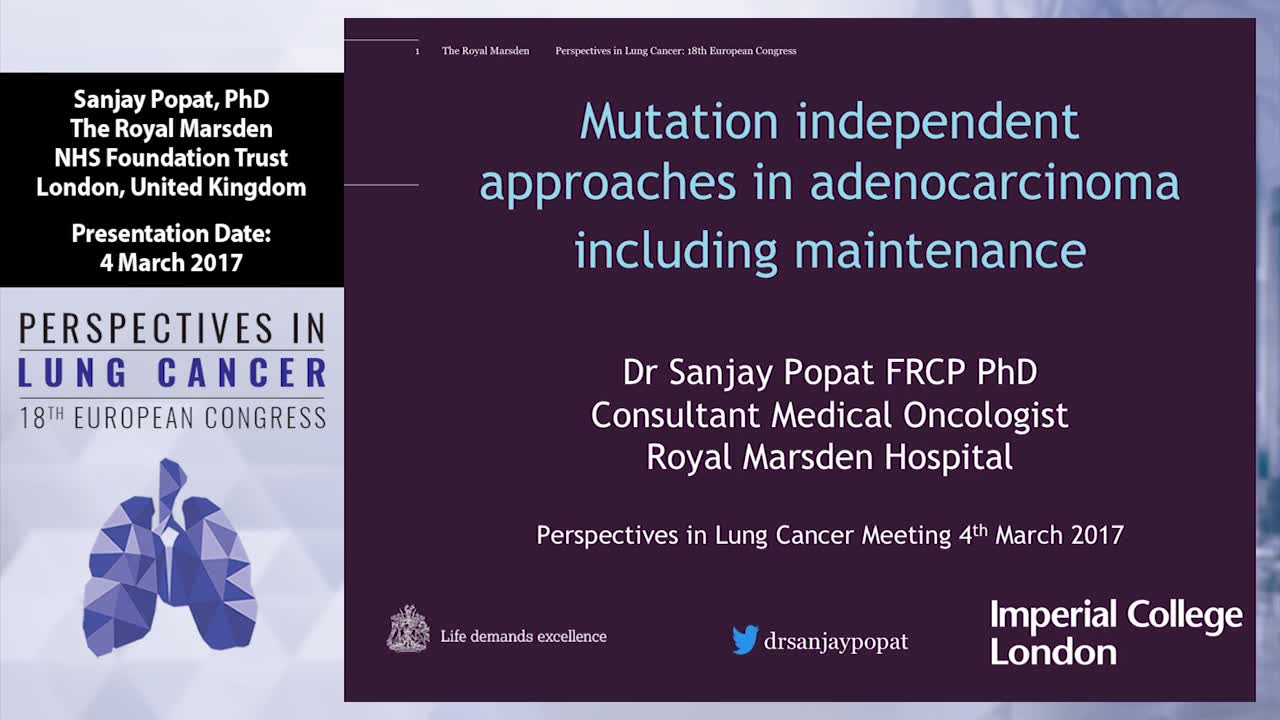 Mutation independent approaches in adenocarcinoma including maintenance