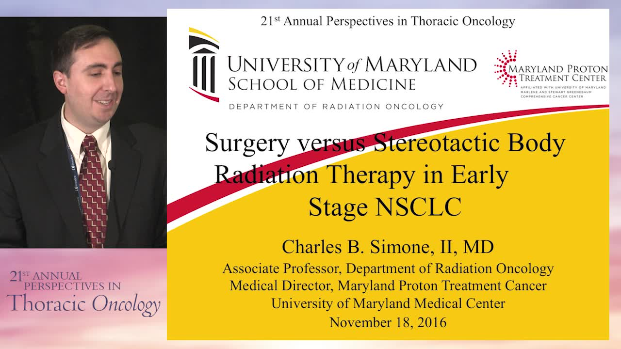 Debate: Surgery versus stereotactic body radiation therapy in early stage NSCLC - SBRT