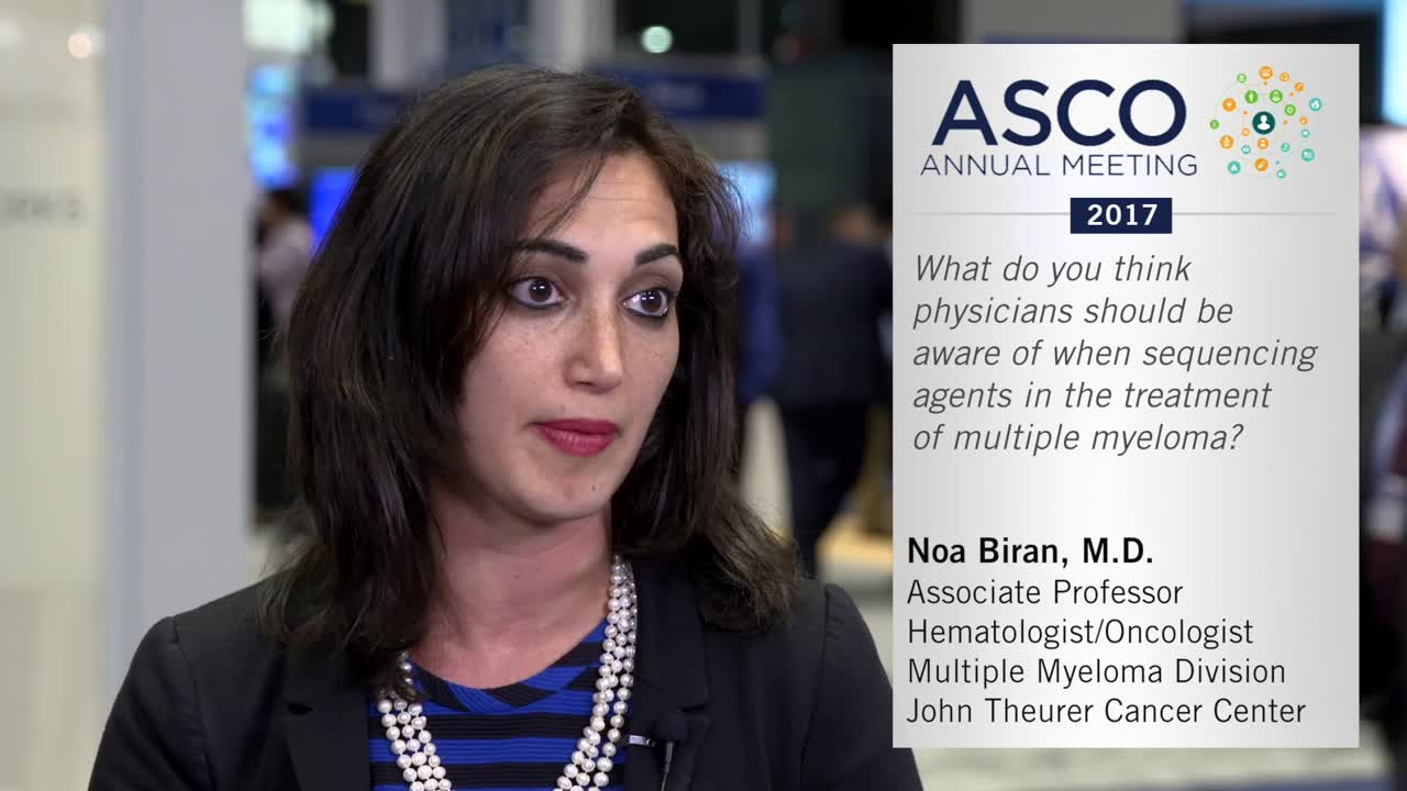What do you think physicians should be aware of when sequencing agents in the treatment of multiple myeloma