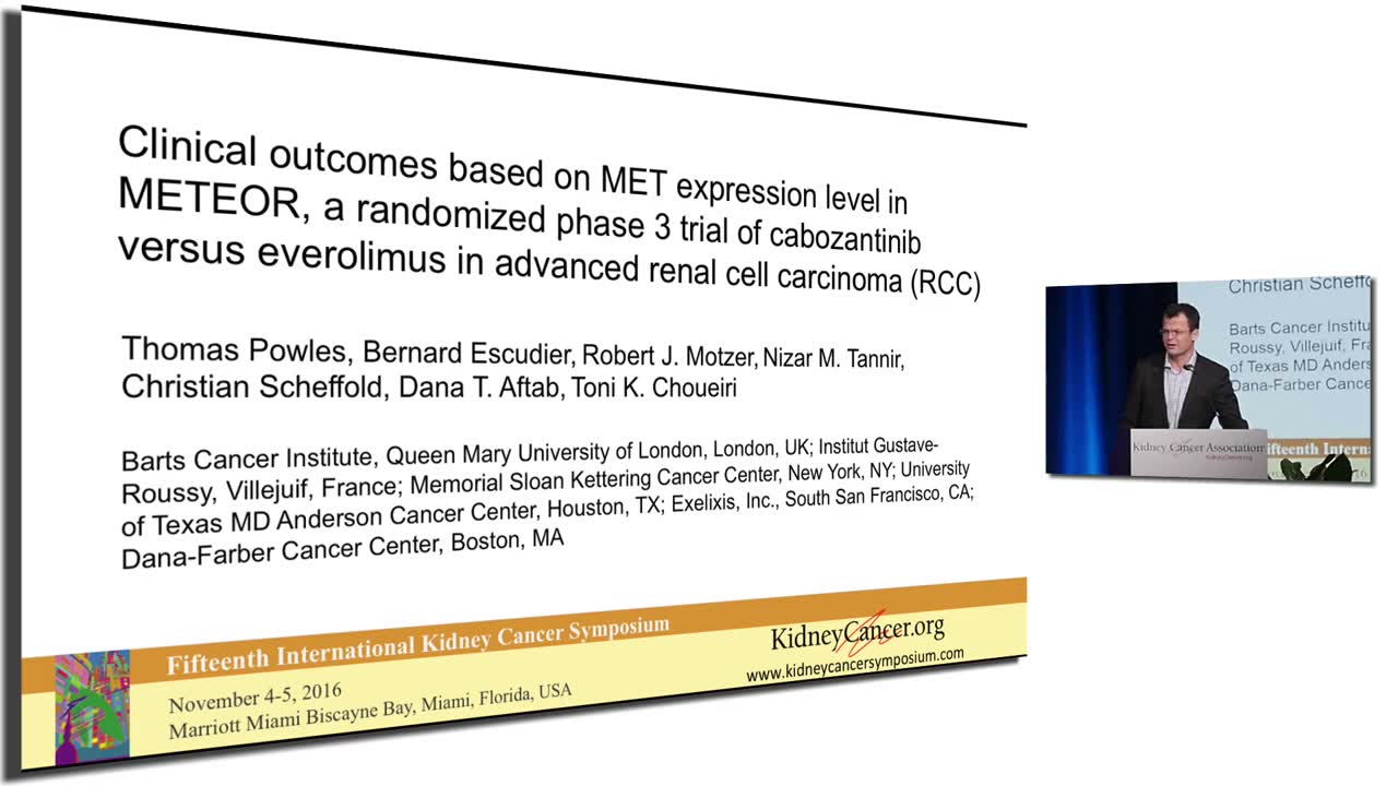Clinical outcomes based on MET expression level in METEOR, a randomized phase 3 trial of cabozantinib versus everolimus in advanced renal cell carcinoma (RCC)