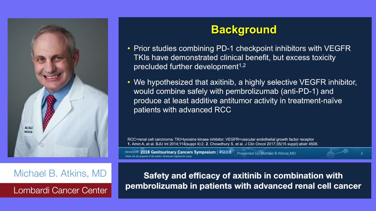 Safety and efficacy of axitinib in combination with pembrolizumab in patients with advanced renal cell cancer