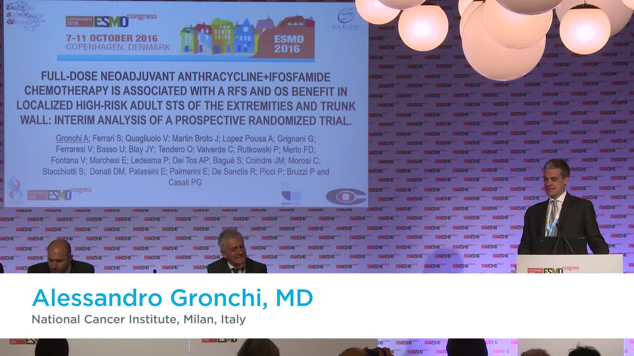ESMO 2016: Press brief on results of trial of neoadjuvant chemotherapy in localized high-risk soft tissue sarcomas (STS)