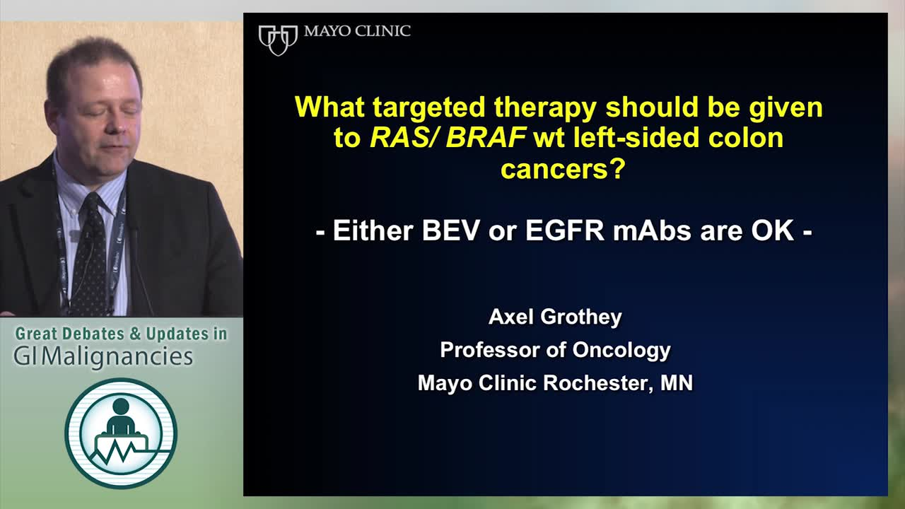 Debate: Targeted therapy for RAS/BRAF WT left sided colon cancers - Either bevacizumab or EGFR antibodies