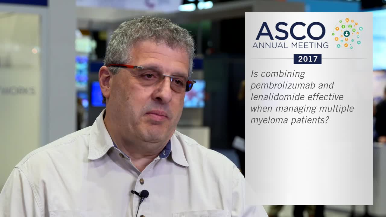 Is combining pembrolizumab and lenalidomide effective when managing multiple myeloma patients?