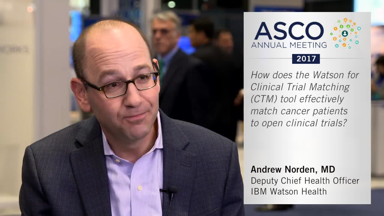 How does the Watson for Clinical Trial Matching (CTM) tool effectively match cancer patients to open clinical trials?