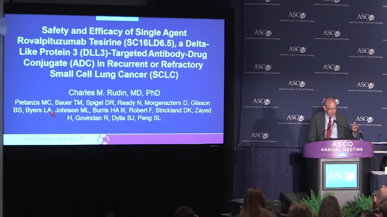 Safety and efficacy of single agent rovalpituzumab tesirine in small cell lung cancer (SCLC)