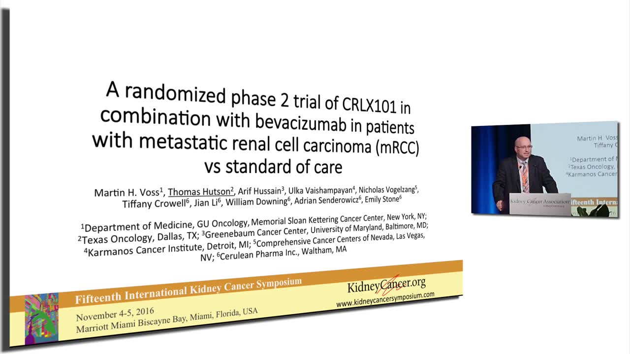 A randomized phase 2 trial of CRLX101 in combination with bevacizumab in patients with metastatic renal cell carcinoma (mRCC) vs standard of care