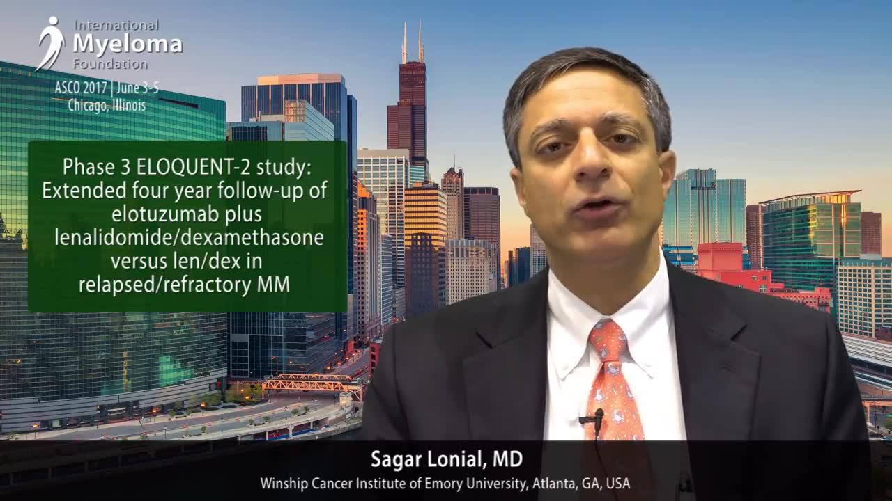 ASCO 2017- Phase 3 ELOQUENT-2 study- Elotuzumab lenalidomide-dexamethasone vs Ld in relapsed-refractory MM