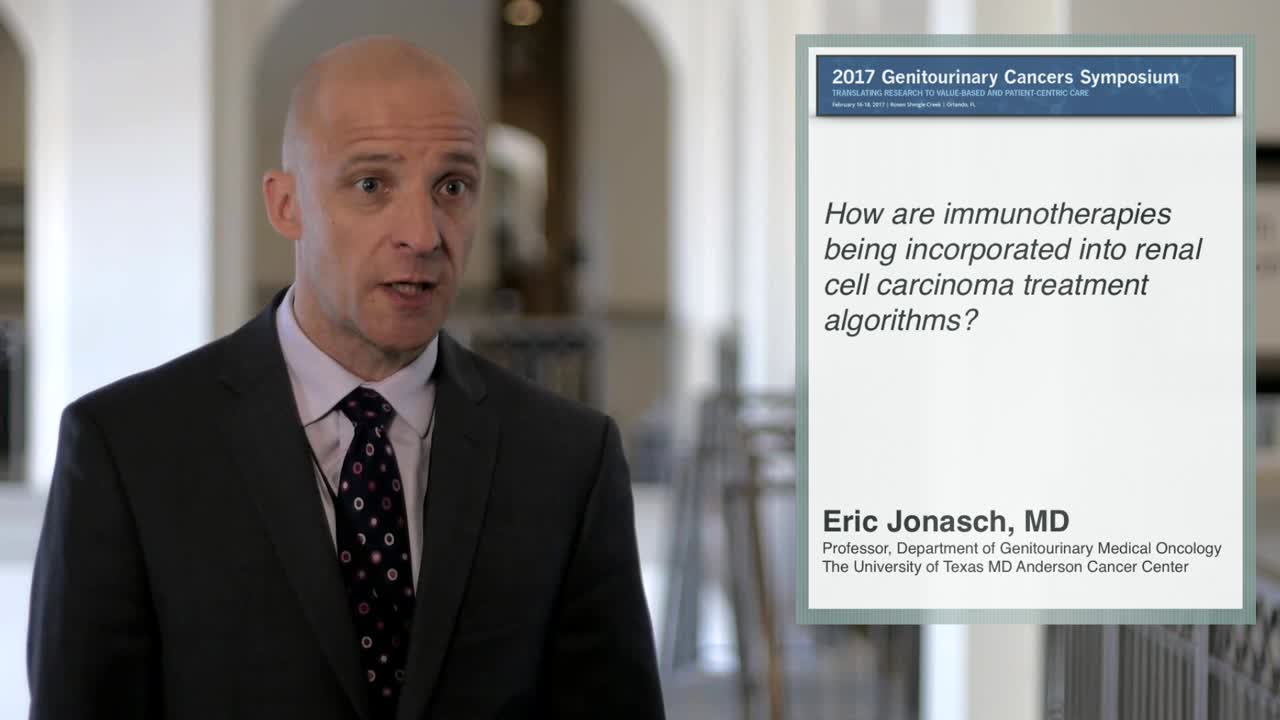 How are immunotherapies being integrated into renal cell carcinoma treatment algorithms?