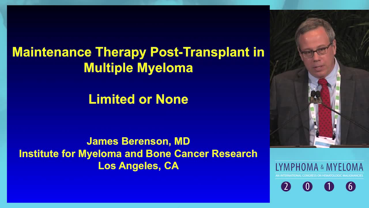 Debate: Myeloma maintenance post-transplant - None or Limited