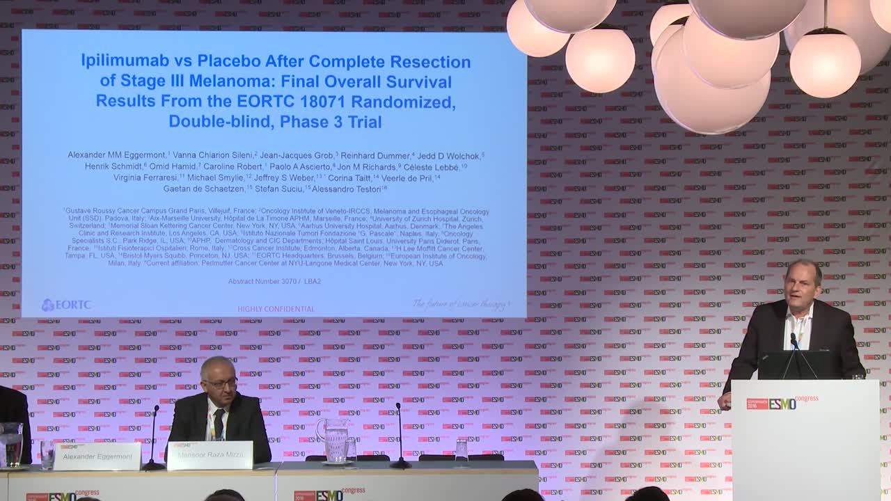 ESMO 2016: Press brief on the results from the EORTC 18071 randomized double-blind trial