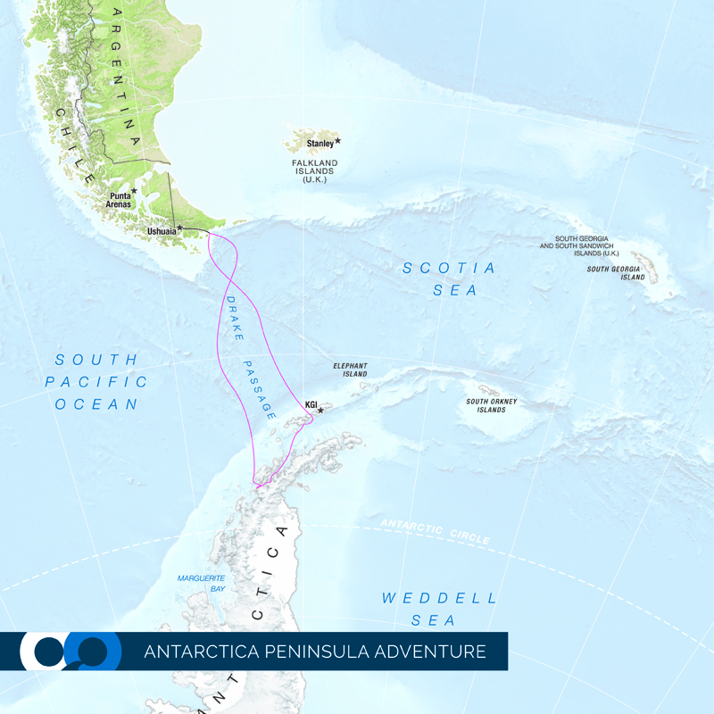 A map of One Ocean Expeditions 'Antarctic Peninsula Adventure' travel package.