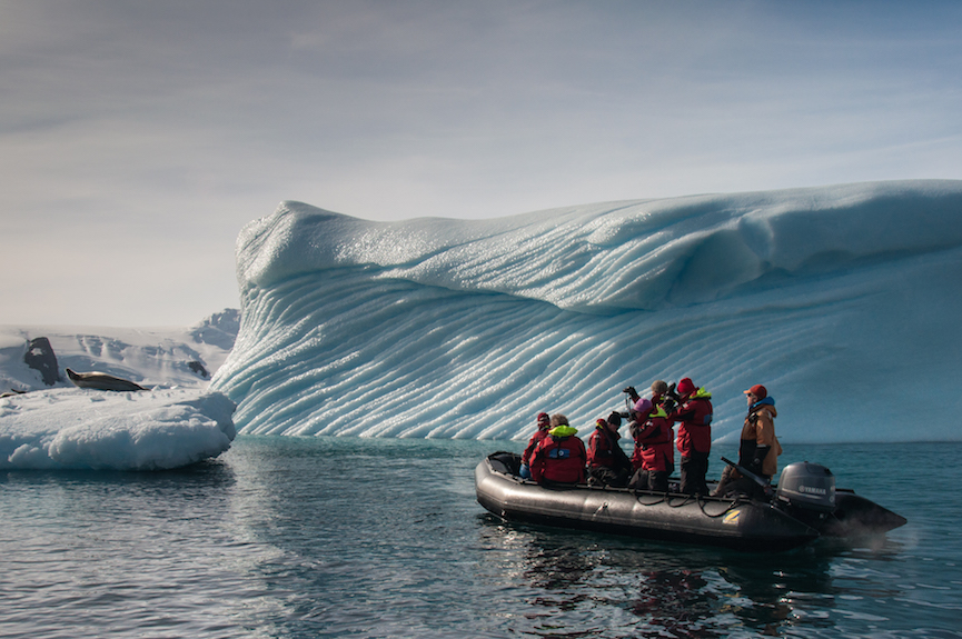 Explore icebergs and glaciers on your One Ocean Expeditions cruise to Antarctica.