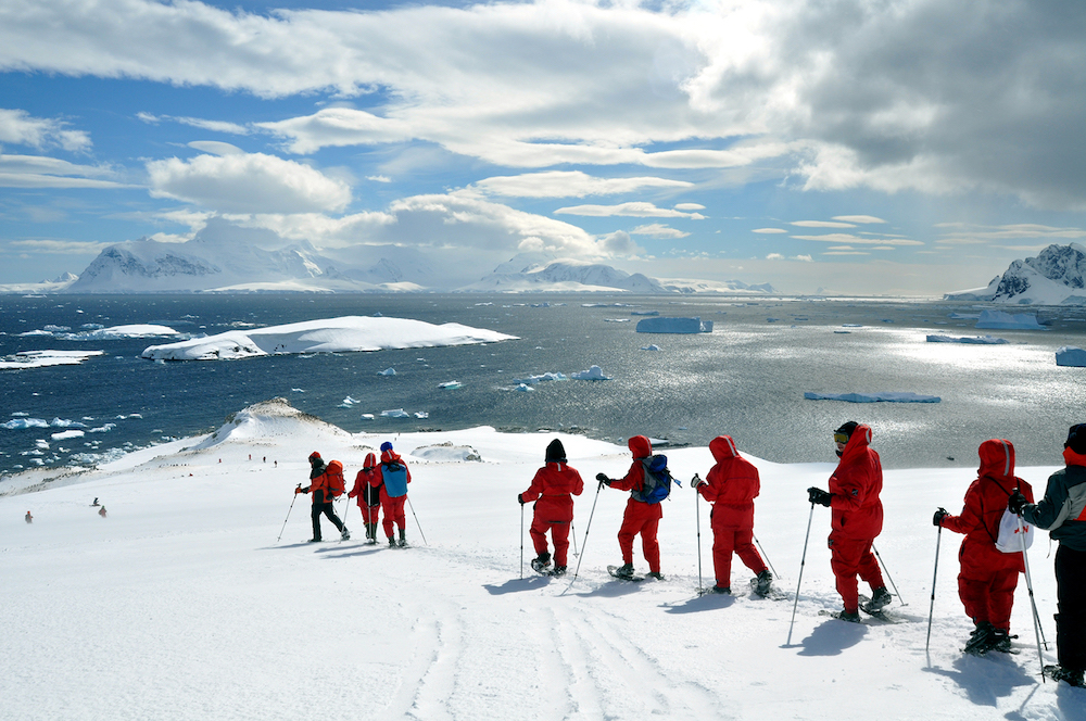 Hiking tours in Antarctica are a popular activity when travelling there on a small expedition ship with One Ocean Expeditions.