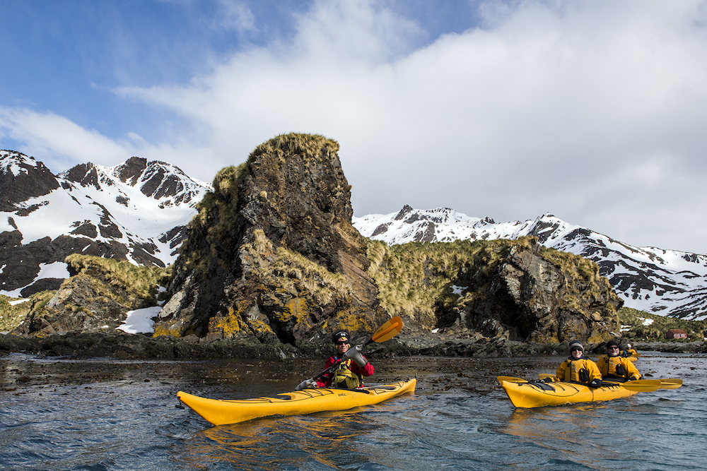 Join a sea kayaking tour in South Georgia on your expedition cruise with One Ocean Expeditions.