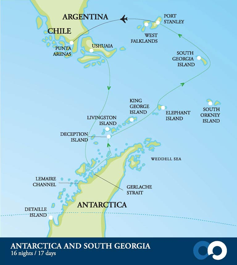 This adventure tour takes you on a small expedition ship to the Antarctic Peninsula and South Georgia.