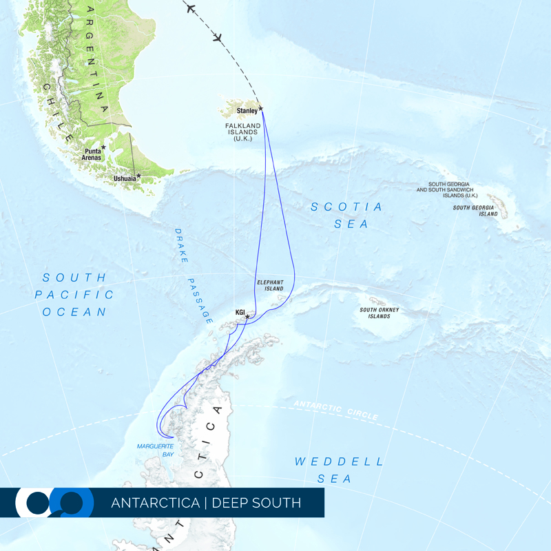 One Ocean Expeditions operates small expedition ships below the Antarctic circle.