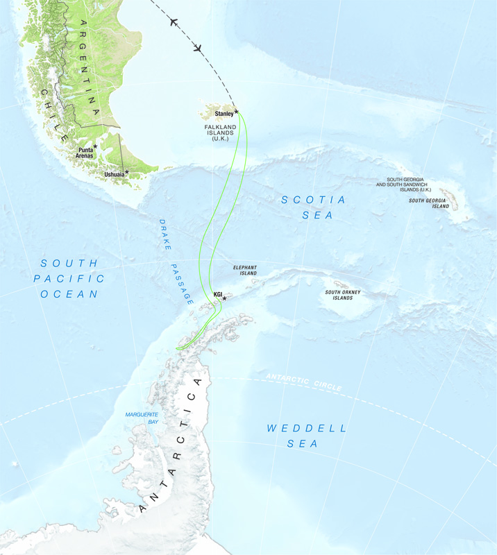 A map of One Ocean Expeditions 'Antarctica Off the Beaten Track' travel package.