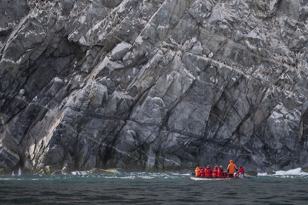 Cruising Baffin Island on a polar expeditions with expert guides on a small ship cruise experience.
