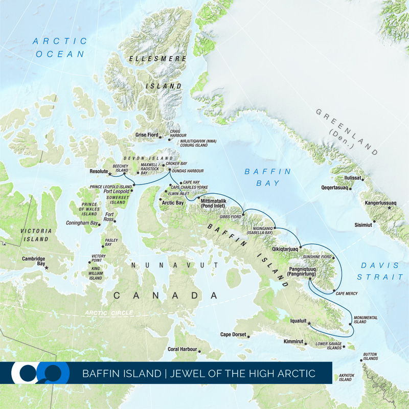 A map of the One Ocean Expeditions Jewel of the High Arctic trip through Baffin Island.