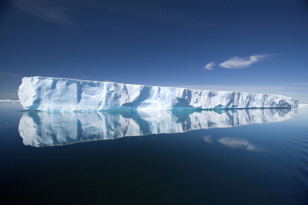 Tabular icebergs can be viewed from a One Ocean Expeditions research vessel in Antarctica.