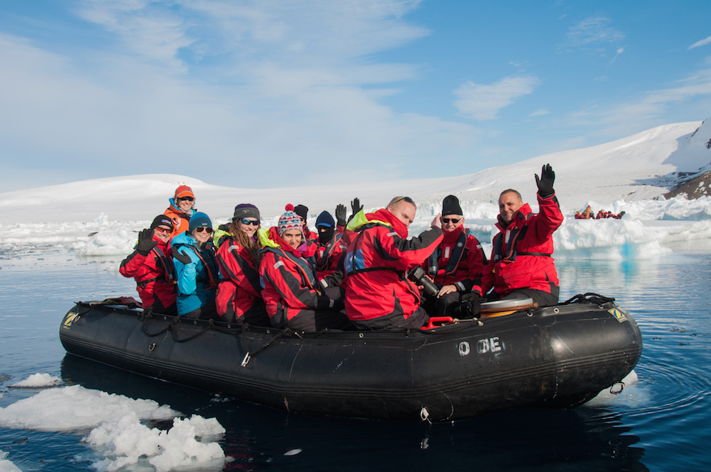 A family on a One Ocean Expeditions polar cruise to Antarctica spend a white Christmas amongst icebergs, glaciers and penguins.