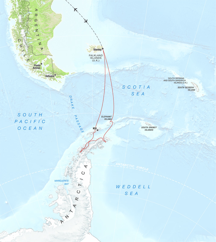 A map of the itinerary for a One Ocean Expeditions Christmas in Antarctica tour.
