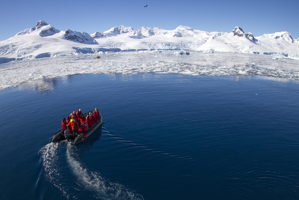 Holidays in Antarctica include many interesting activities such as sea kayaking, camping on ice, hiking tours, whale watching tours or wildlife identification tours with expert guides. Image by Ira Meyer