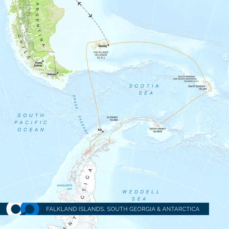 Falkland Islands South Georgia and Antarctica map of One Ocean Expeditions travel package to both destinations.