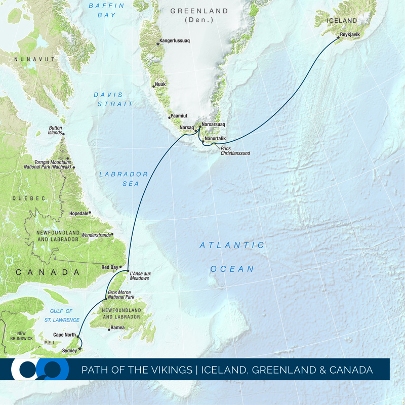 Map Of Canada Greenland And Iceland.One Ocean Expeditions