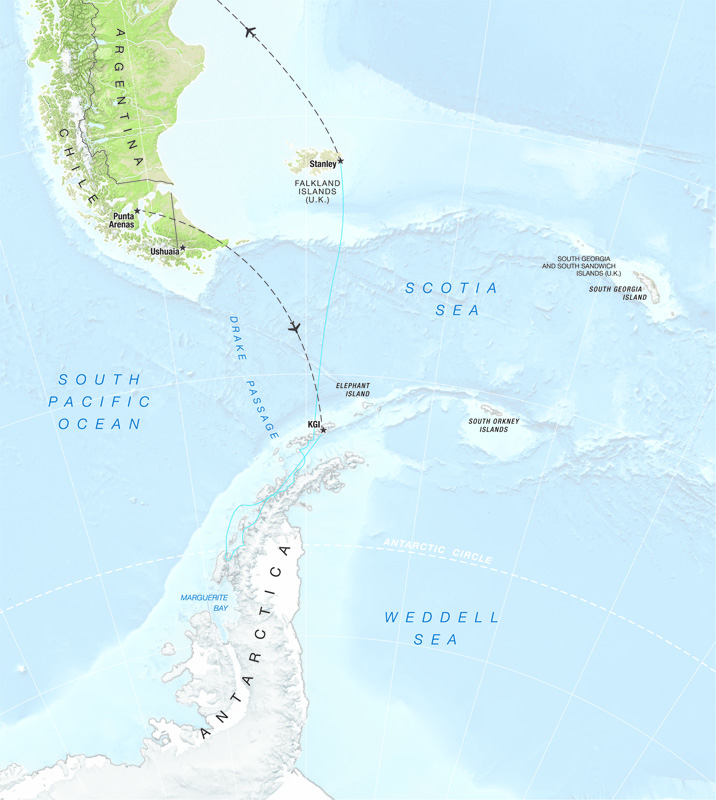 One Ocean Expeditions offers expedition cruises below the Antarctic Circle onboard their small expedition ships.