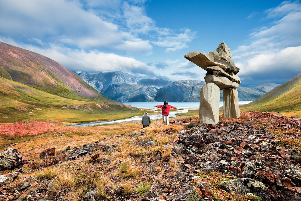 Inukshuk in Labrador, close to the Torngat Mountains National Park. Photo: Barrett & MacKay