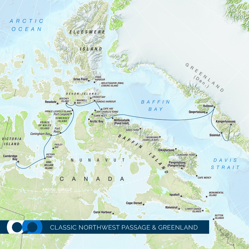 Travel with One Ocean Expeditions through the Northwest Passage from Greenland to Cambridge Bay, stopping by Baffin Island along the way.