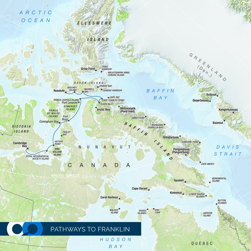 Map of the High Canadian Arctic in Nunavut.