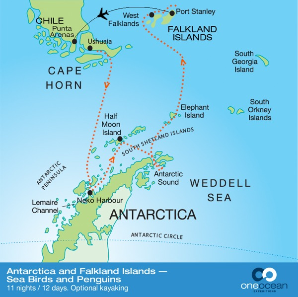 Antarctic, Falkland Island and Weddell sea map