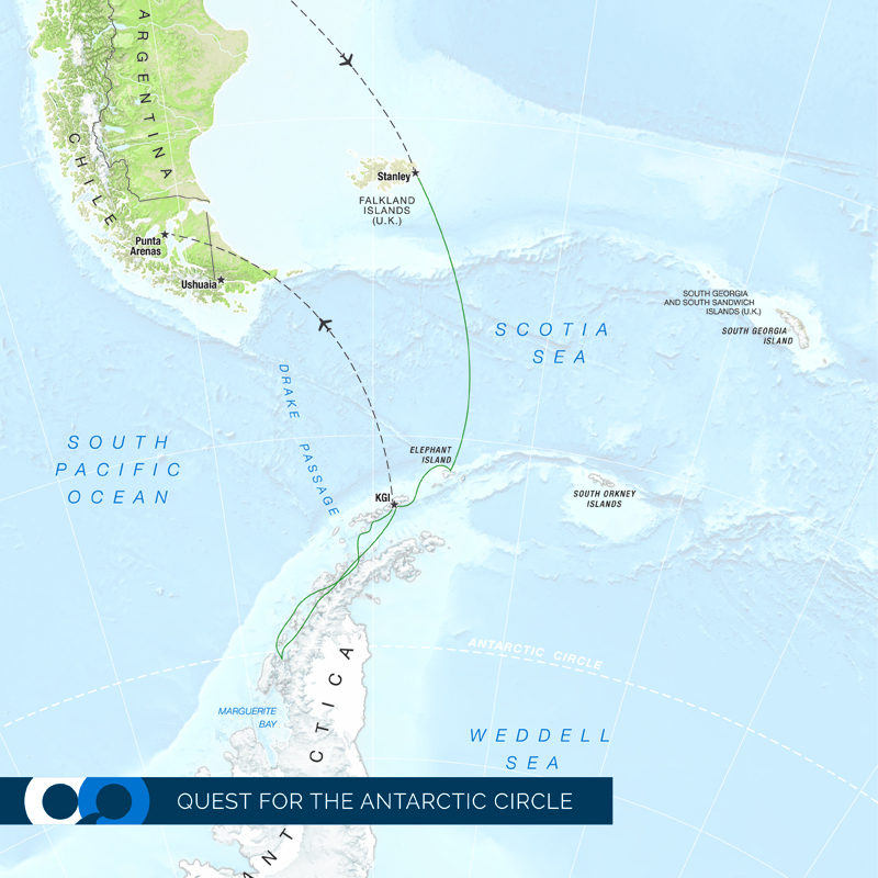 Arctic Circle map of One Ocean Expeditions Quest for the Antarctic Circle trip.