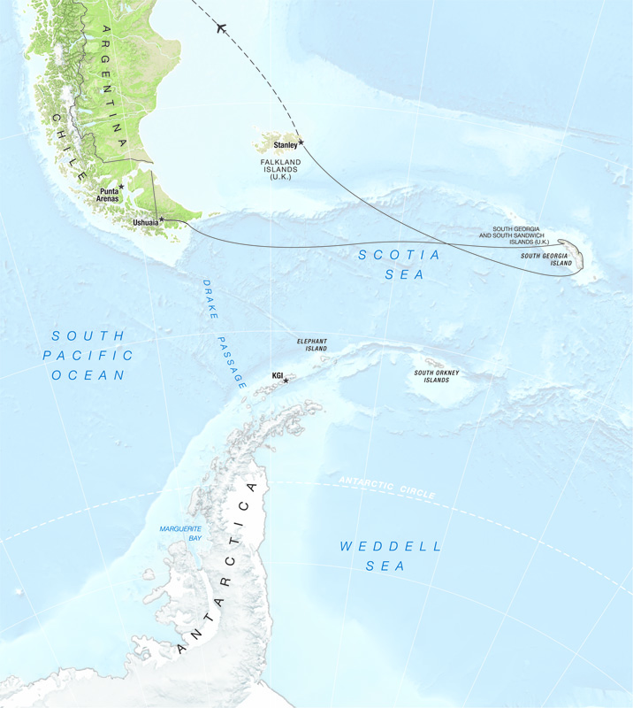 A map of the One Ocean Expeditions South Georgia In-Depth trip, which travels to just off the Falkland Islands.