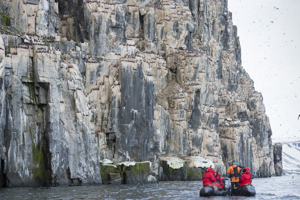 One Ocean passengers discovering Svalbard on zodiac excursions.