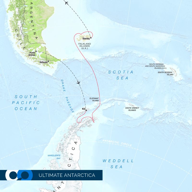 Antarctica map of One Ocean Expeditions.