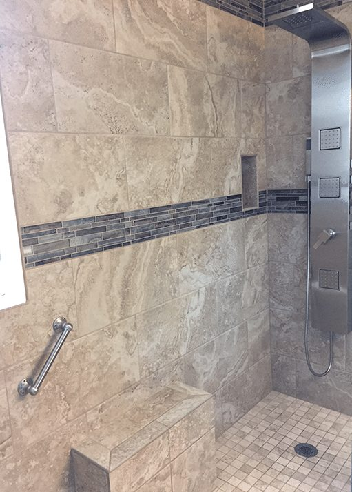 custom luxury tile shower with rain showerhead efficient home pro - Luxury Tile Showers