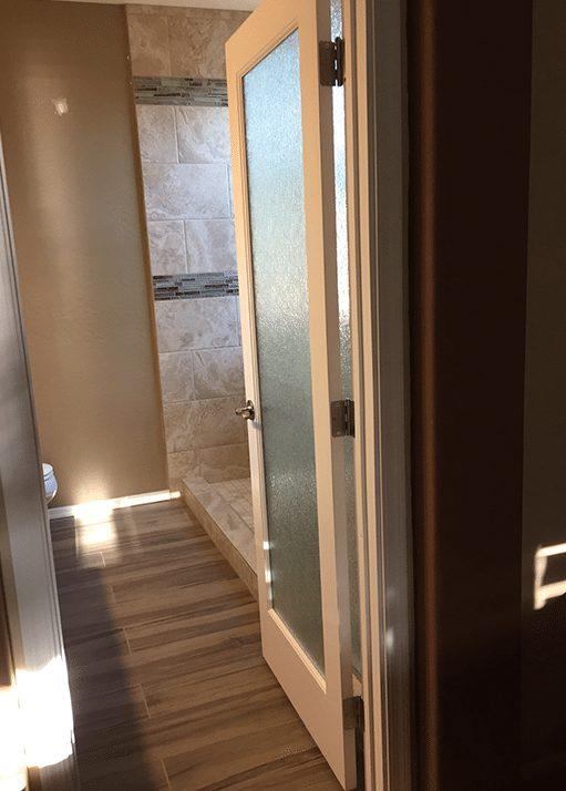 custom bathroom with glass door and tile shower efficient home pro
