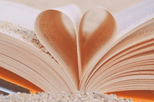 Book page in a heart