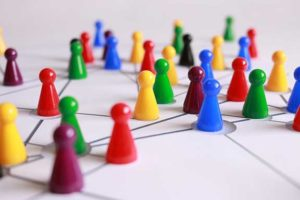 A network of colorful game pieces