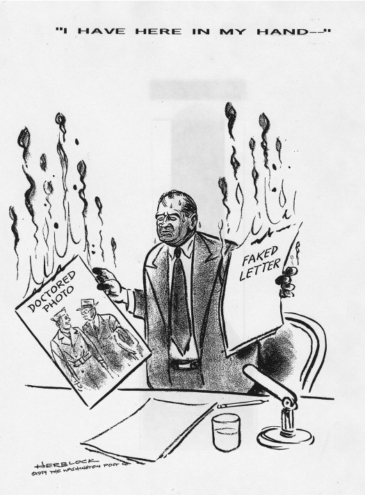 A cartoon shows Senator Joseph McCarthy sweating and holding a paper in each hand. The paper in his right hand says