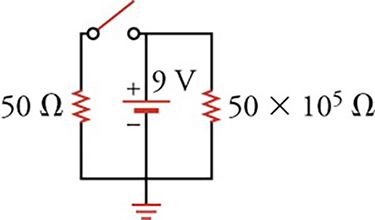Circuit diagram with a $9\text{-V}$ battery, two resistors $\left(50\,\text{and}\,50 \times 10^{50}\,\Omega \right)$, and a switch.