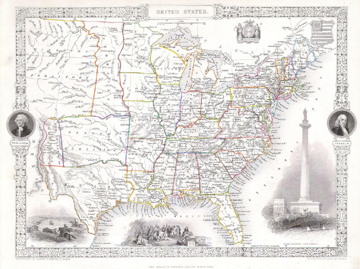 Map of the United States depicting the region from the eastern seaboard and continuing west to the middle of the country.