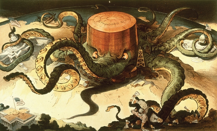 The cartoon shows a Standard Oil tank as an octopus. Its tentacles reach out and wrap around the Capitol building, the state house, and workers in the copper and steel industries. One tentacle reaches for the white house.